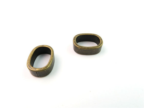 30pcs Round flat Slider, Zamak, Antique Brass, for flat leather, bracelet findings, Jewelry Findings & Components D-2-8