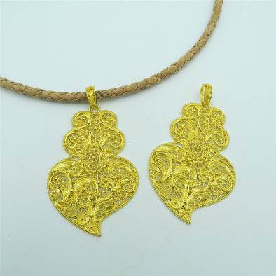 5 units Golden viana heart pendant original PORTUGUESE statement Necklace pendant jewelry finding suppliers D-3-86