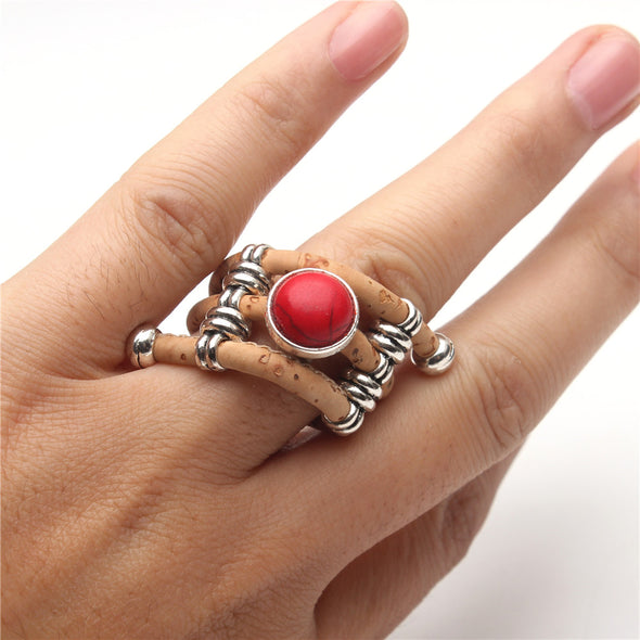 Cork ring with Red stone Wood color Handmade original jewelry adjustable the size of the ring,R-070