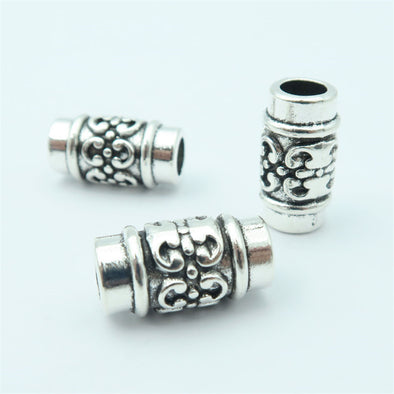20 PCS For 5mm leather antique silver zamak flower beads, Jewelry supply, Findings Components D-5-5-60