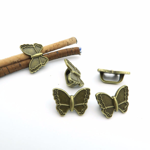10pcs For 10x5mm leather Antique Brass butterfly Slider, bracelet findings, Leather Components D-2-5