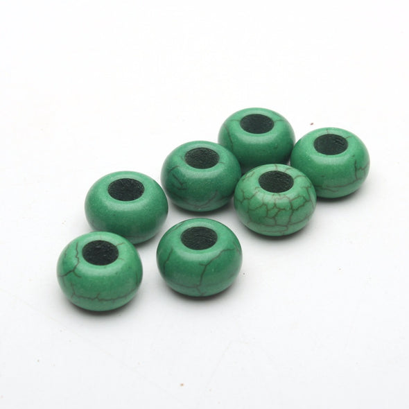 20PCS For 5mm leather green stone big hole beads Jewelry supply Findings Components D-5-5-77
