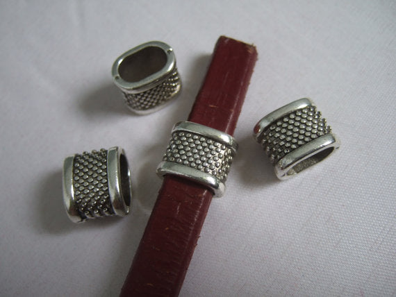 10pcs For 10x5mm leather Antique silver Slider bracelet findings Licorice Leather Components D-2-6