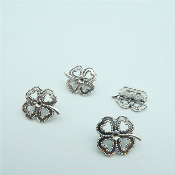 20pcs for 3mm leather flower Clover slider Antique Silver Clover charms jewelry finding supplies D-5-3-17