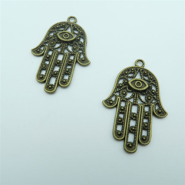 10pcs Fatima hand Pendants for necklace key chain antique brass Pendants Jewelry Findings & Components D-3-63