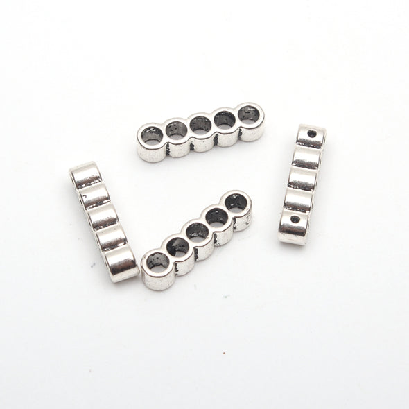 20pcs 3mm round Leather Supplies 5 connectors  separator Strand Antique Silver Jewelry Components D-5-3-37