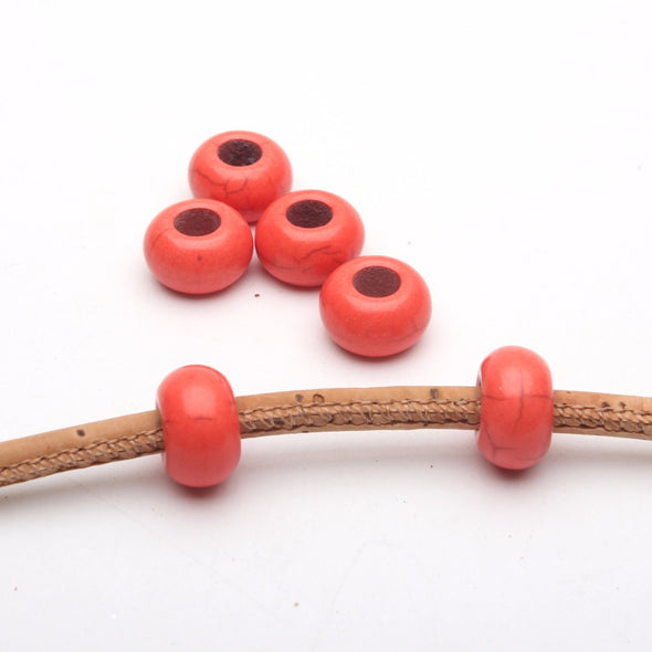 20PCS For 5mm leather Orange stone big hole beads Jewelry supply Findings Components D-5-5-74