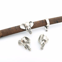 10 pcs For 10x5mm leather Antique Silver Elephant Slider bracelet findings Licorice Leather Components D-2-3