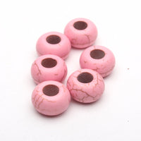 20PCS For 5mm leather Pink stone big hole beads Jewelry supply Findings Components D-5-5-76