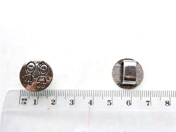 10pcs Boy and girl Slider for Licorice Leather, Zamak, Antique Silver, Jewelry supply finding D-2-7