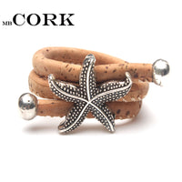 MB Cork starfish sea star Portuguese cork women Ring soft original, adjustable handmade R-010