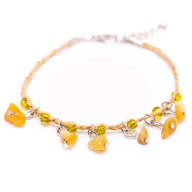Yellow gemstone woven bracelet, ABR-06-1