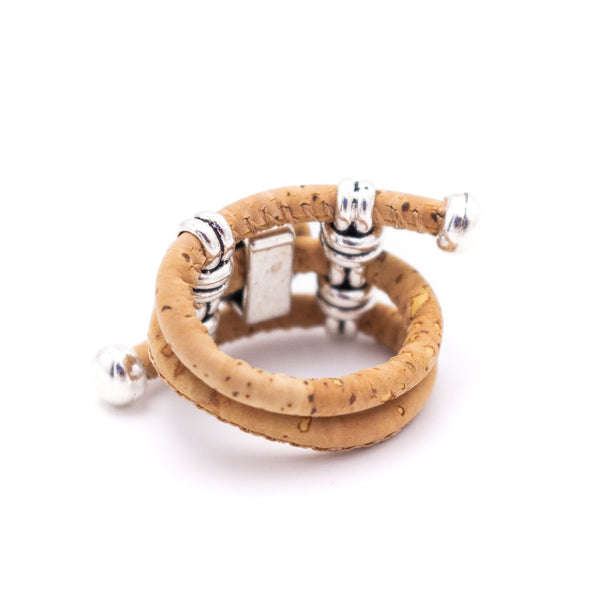 Colorful cork with stone pendant Antique Silver vintage women Ring original adjustable wooden jewelry RW-014-9