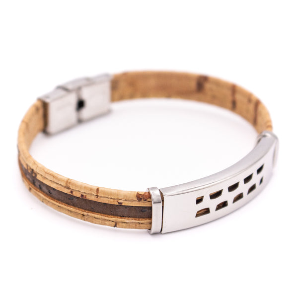 10mm Flat natural cork with Stainless steel fittings handmade Nautical bracelet men bracelet  BR-460-MIX-6