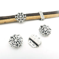 10 Pcs for 10mm flat leather, Antique Silver Snow beads jewelry supplies jewelry finding D-1-10-91