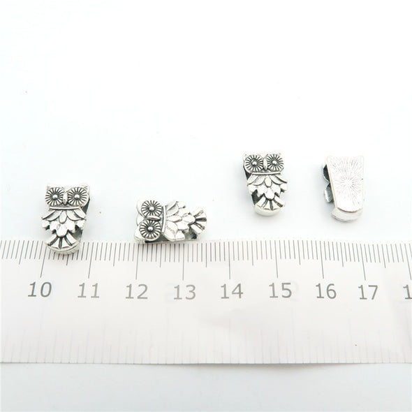 10 Pcs for 10mm flat leather, Antique Silver OWL  beads jewelry supplies jewelry finding D-1-10-90
