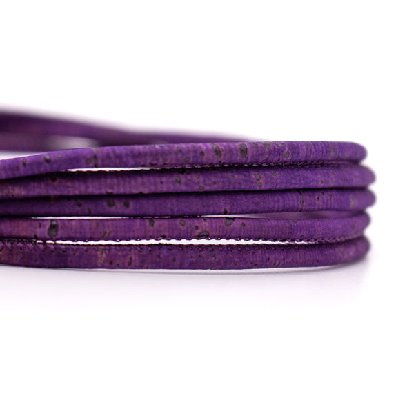 10meter 3mm round purple cork cord COR-408-10