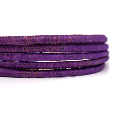 10Meter  purple 5mm round cork cord COR-409-10