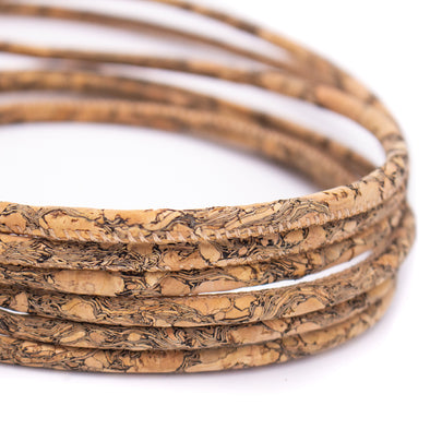 Wood grain 5mm round cork cord COR-389(10meters)