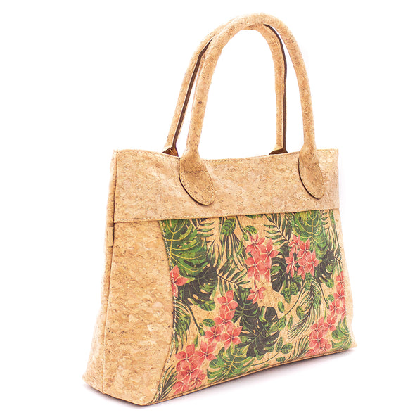 Natural Vegan Cork Handbag with Tropical Patterns Design | Made with Cork Fabric Bag-2023