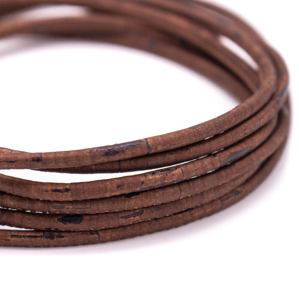 10 meters 3MM brown rustic  prensado round cork cord   COR-593