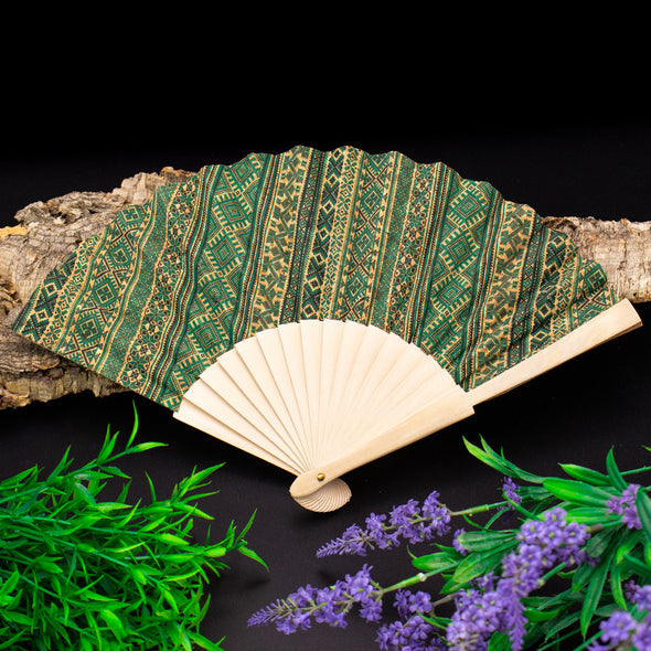 Cork antique wooden hand fan folding hand fan L-029-BCDE