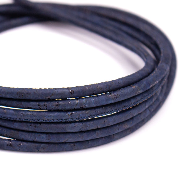10meter Dark  blue  about 5mm round cork cord COR-596