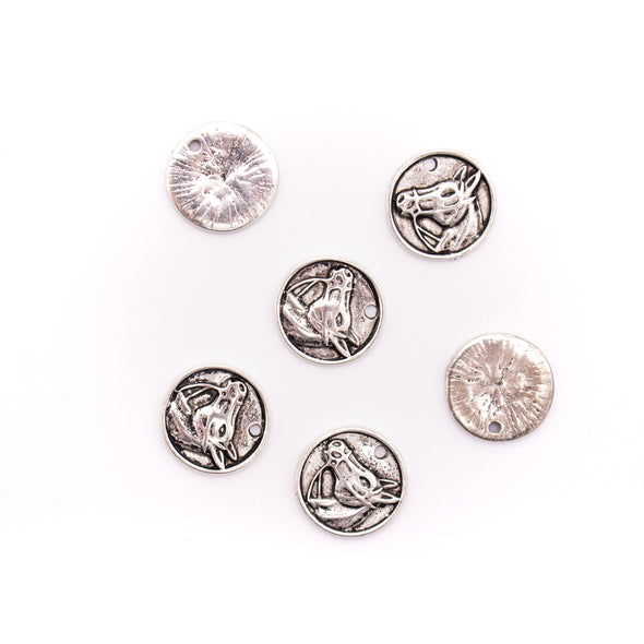 30 units 14x14mm round Pendant antique silver horse jewelry pendant Jewelry Findings  D-3-466