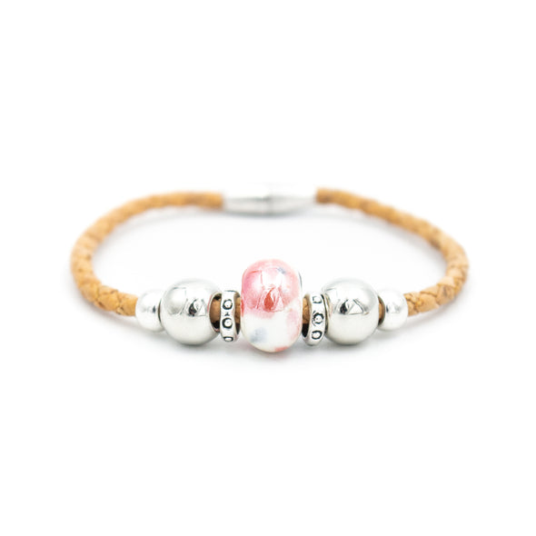 Natural Braided Cork with Colored porcelain beads bracelet for women jewelry bracelet  handmade jewelry BR-418-MIX-5