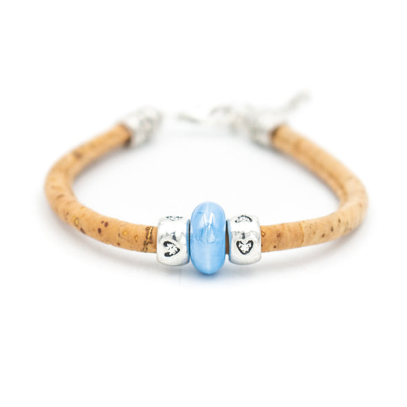 natural cork with Colored porcelain beads women bracelet natural handmade Original pulsera jewelry BR-417-12