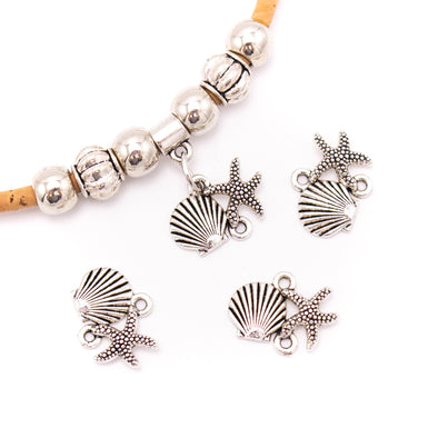 30 units 12x17mm  silver Shells and starfish Necklace  jewelry pendant Jewelry Findings  D-3-472