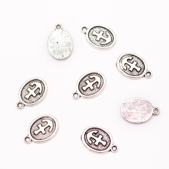 20 units 12x18mm round silver Oval anchor Necklace  jewelry pendant Jewelry Findings D-3-475