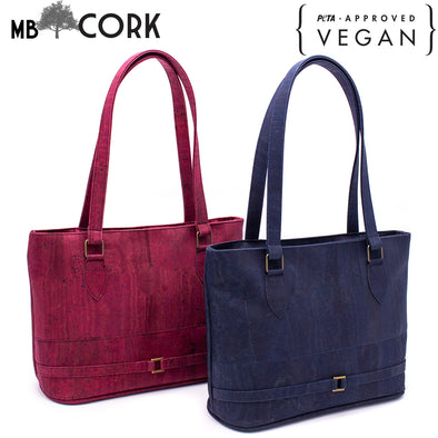 Navy blue and wine red cork girls handbag BAGP-008