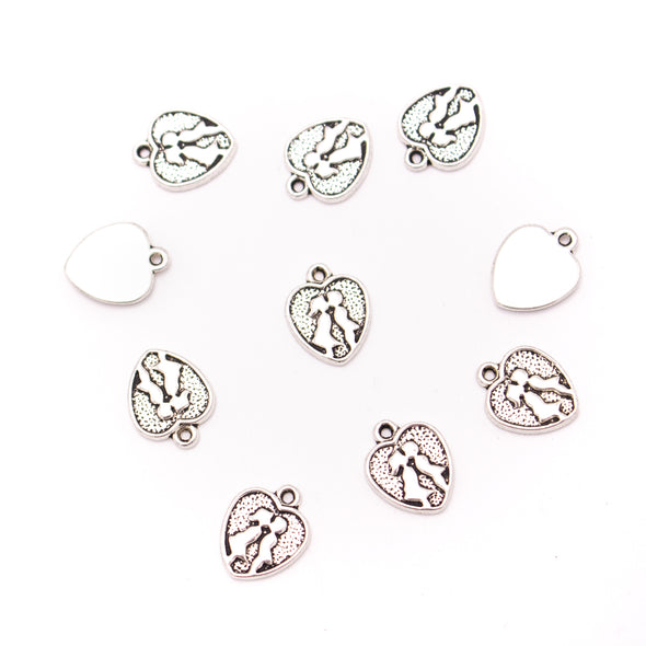 30 units 11x13mm silver heart Necklace  jewelry pendant Jewelry Findings D-3-483