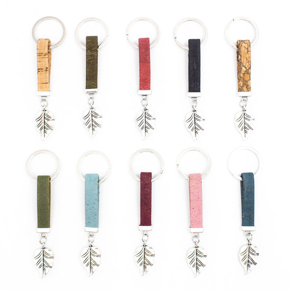 Colorful  cork  with tree leaf pendant Simple style keychain cork handmade  keychain I-059-10