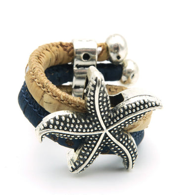 Natural Cork starfish sea star Portuguese cork women Ring soft original, adjustable handmade R-013