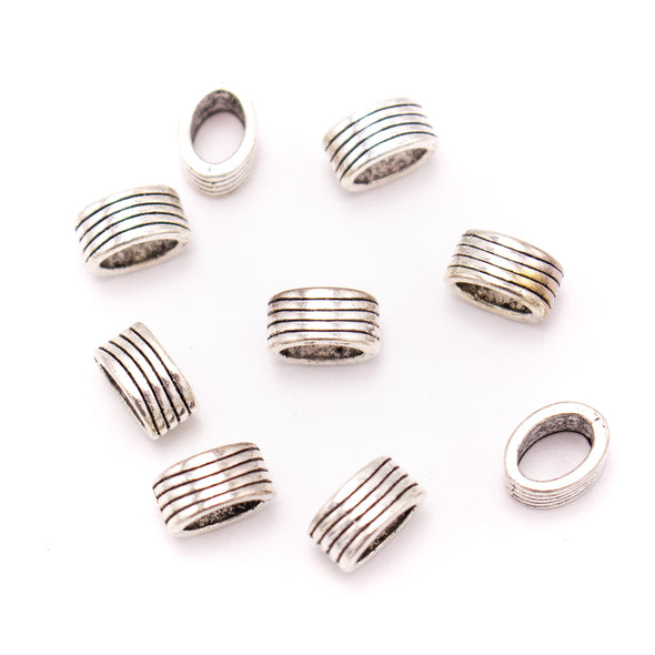 30PCS For 7mm leather antique silver zamak 7mm Oval beads Jewelry supply Findings Components- D-5-5-189