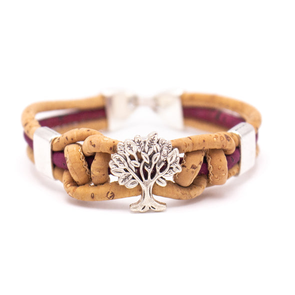 Natural cork with tree handmade women Bracelet lady handmade wood jewelry BR-484-MIX-5