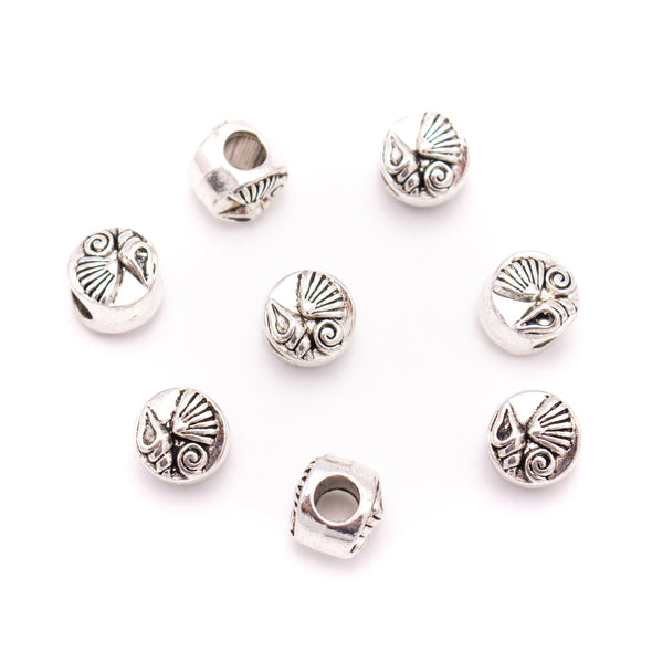 10PCS For 5mm leather antique silver zamakb 5mm round  beads Jewelry supply Findings Components- D-5-5-193