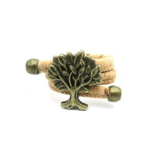 Natural Cork Portuguese cork Antique Brass life of tree cork women Ring soft original, adjustable handmade R-015