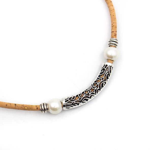 Natural cork with Original Silver Hollow tube pendant handmade women cork necklace N-300-5