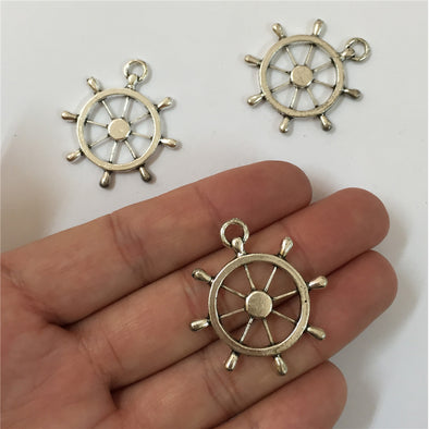 10 units antique sliver rudder pendant charms jewelry finding suppliers D-3-111