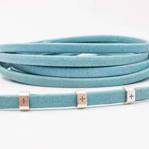 10x4mm sky blue color Licorice Cork Cord Leather Portuguese cork COR-368