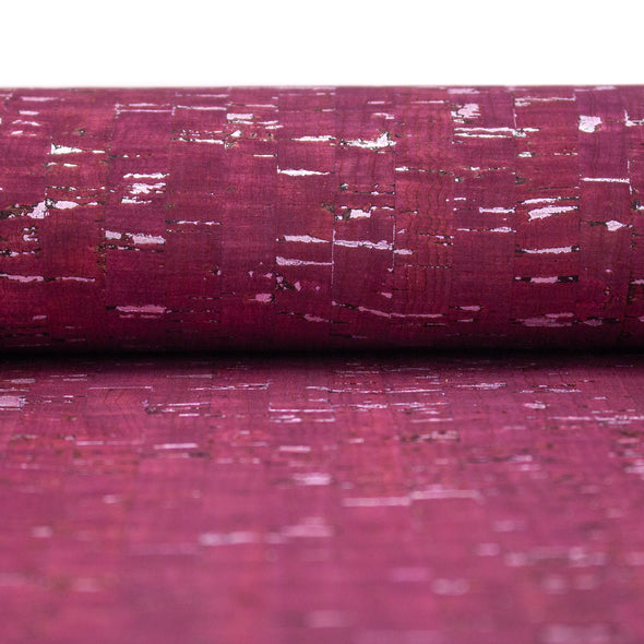 Wine red with silver cork textile sheet COF-367