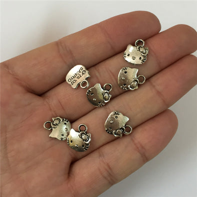 30 units antique sliver small kitty cat pendant charms jewelry finding suppliers D-3-129