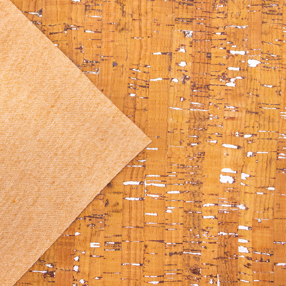 Light yellow with silver cork textile sheet COF-369