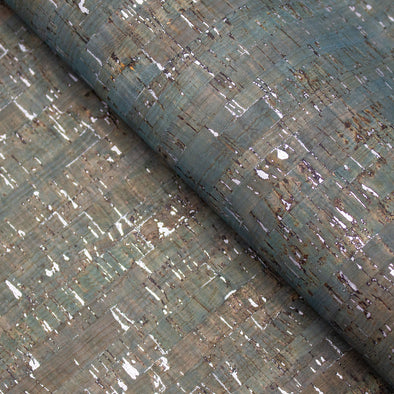 Turquoise green with silver cork textile sheet COF-366