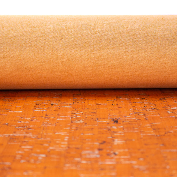 Orange with silver cork textile sheet COF-364
