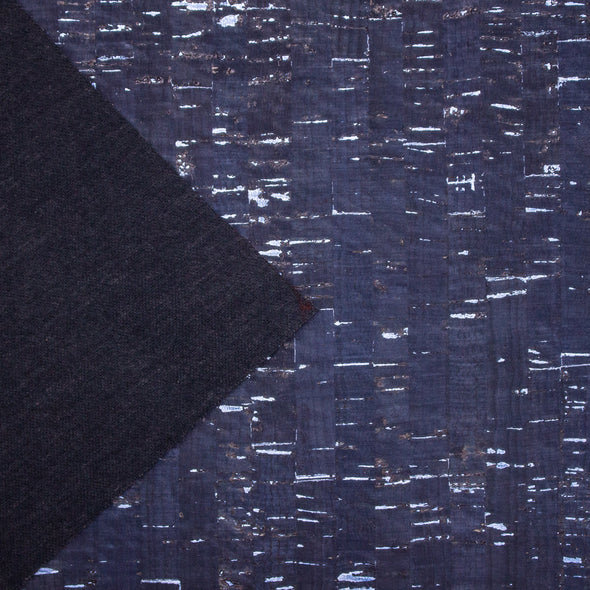 Navy blue with silver cork textile sheet COF-365