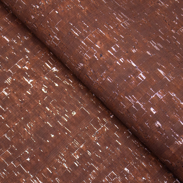 Brown with silver cork textile sheet COF-368